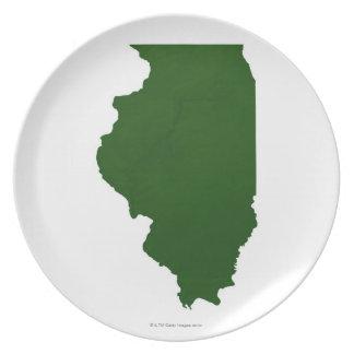 Karta av Illinois Tallrik