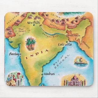 Karta av Indien Musmatta