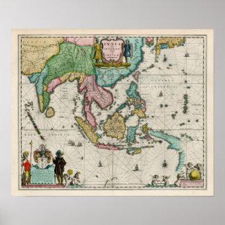 Karta av Indien och fjärran östern, karta 1642 Poster