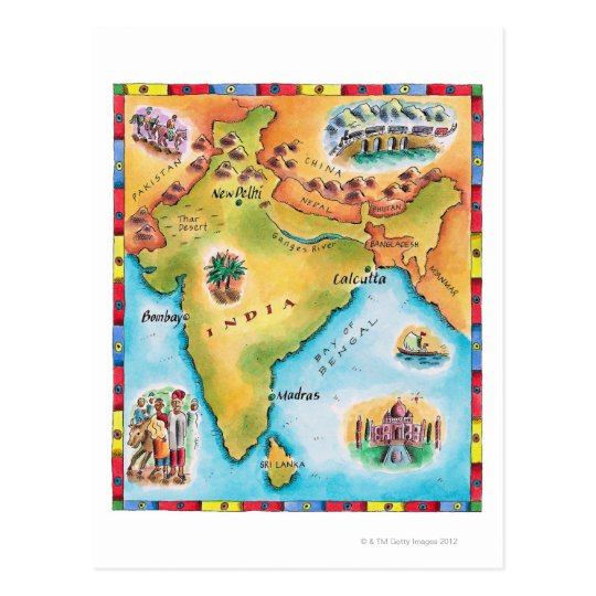 Karta Av Indien Vykort Zazzle Se