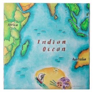 Karta av Indiska oceanen Kakelplatta
