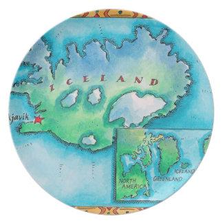 Karta av islandet tallrik