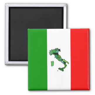 Karta av italien och den italienska flagga magnet