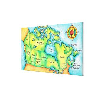 Karta av Kanada Canvastryck