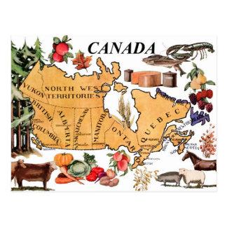 Karta av Kanada och olika representativa produkter Vykort
