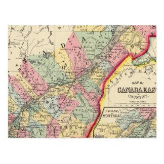 Karta av Kanada som är östlig i län Vykort