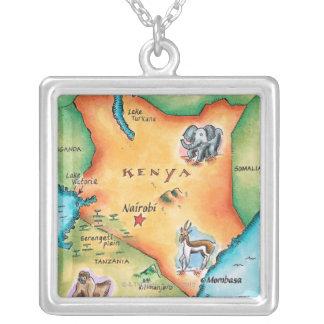 Karta av Kenya Silverpläterat Halsband