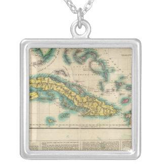 Karta av Kuban och de Bahama öarna Silverpläterat Halsband