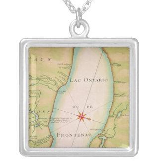 Karta av Lake Ontario Silverpläterat Halsband