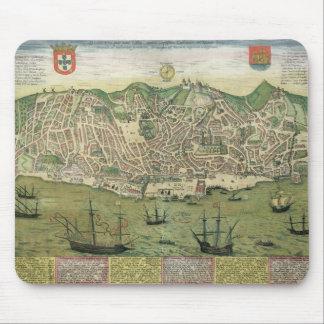 """Karta av Lisbon, från """"Civitates Orbis Terrarum"""" b Musmatta"""