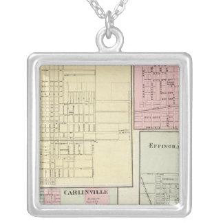 Karta av Litchfield, Carlinsville, Salem Silverpläterat Halsband