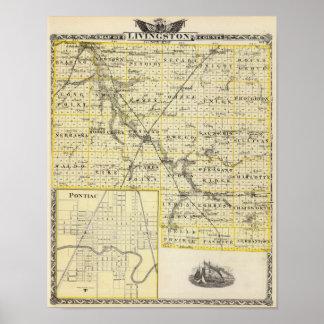 Karta av Livingston County och Pontiac Poster