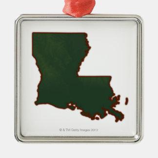 Karta av Louisiana Julgransprydnad Metall