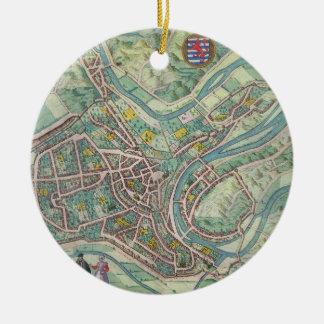Karta av Luxembourg, från 'Civitates Orbis Julgransprydnad Keramik