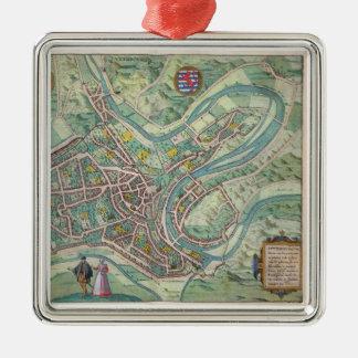 Karta av Luxembourg, från 'Civitates Orbis Julgransprydnad Metall