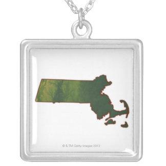 Karta av Massachusetts 3 Halsband Med Fyrkantigt Hängsmycke