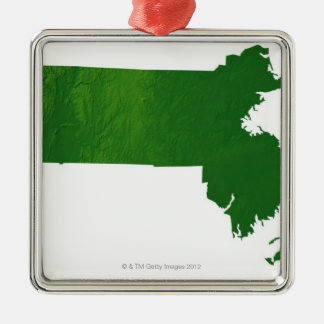 Karta av Massachusetts Julgransprydnad Metall