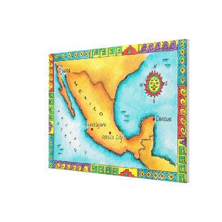 Karta av Mexico Canvastryck