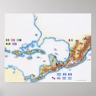 Karta av Mexico, Central America och karibiskt Poster
