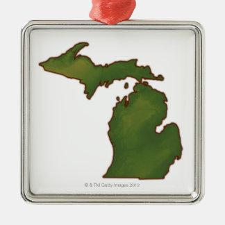 Karta av Michigan 4 Julgransprydnad Metall