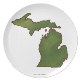Karta av Michigan 4 Tallrik