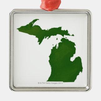 Karta av Michigan Julgransprydnad Metall