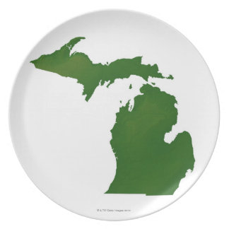 Karta av Michigan Tallrik