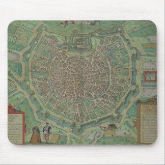 """Karta av Milan, från """"Civitates Orbis Terrarum"""" vi Musmatta"""