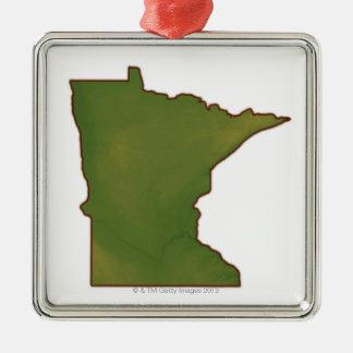 Karta av Minnesota Julgransprydnad Metall