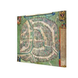 """Karta av Moscow, från """"Civitates Orbis Terrarum"""" b Canvastryck"""