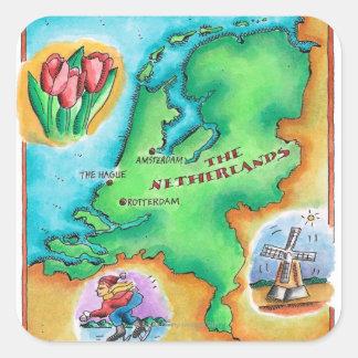 Karta av Nederländerna Fyrkantigt Klistermärke