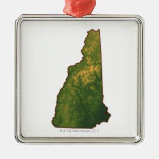 Karta av New Hampshire 2 Julgransprydnad Metall