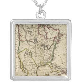 Karta av Nordamerika 2 Halsband Med Fyrkantigt Hängsmycke