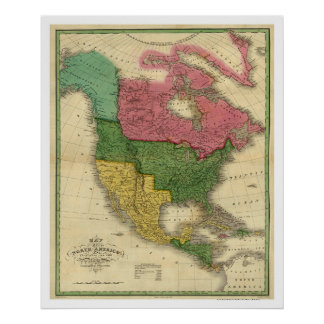 Karta av Nordamerika av D.H. Vance 1826 Poster