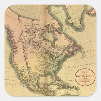 Karta av Nordamerika av John Cary (1811) Fyrkantigt Klistermärke