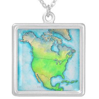 Karta av Nordamerika Halsband Med Fyrkantigt Hängsmycke