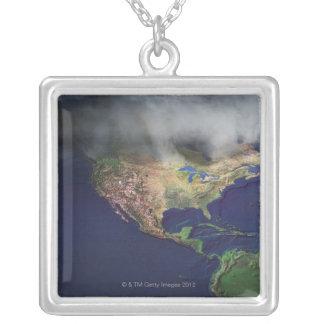 Karta av Nordamerika med dimma Halsband Med Fyrkantigt Hängsmycke