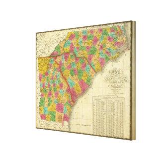 Karta av norden och South Carolina och Georgia Canvastryck
