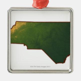 Karta av North Carolina 2 Julgransprydnad Metall