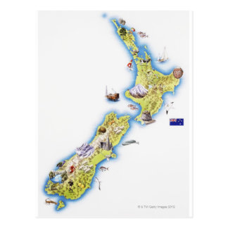 Karta av nyazeeländskt vykort