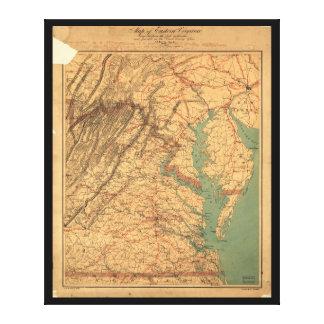 Karta av östliga Virginia (1862) Canvastryck