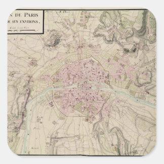 Karta av Paris och dess omge Fyrkantigt Klistermärke