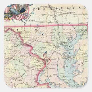 Karta av placera av krig fyrkantigt klistermärke
