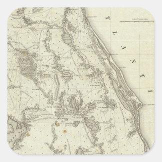 Karta av placera av krig i Florida Fyrkantigt Klistermärke