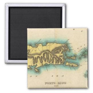 Karta av Porto Rico och Virginen Islands Magnet