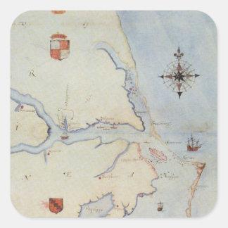Karta av Raleighs Virginia Fyrkantigt Klistermärke
