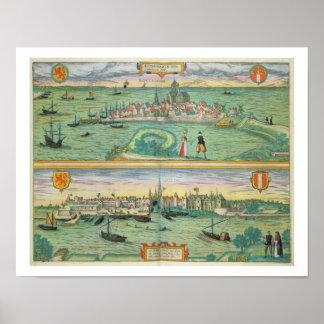 Karta av Rotterdam och Gouda, från 'Civitates Orbi Poster