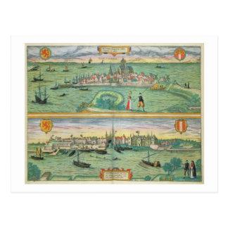 Karta av Rotterdam och Gouda, från 'Civitates Vykort