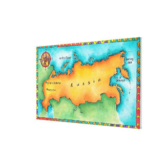 Karta av Ryssland Canvastryck