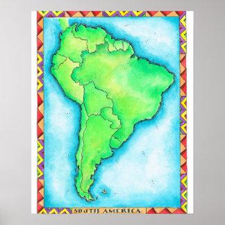Karta av South America 2 Poster